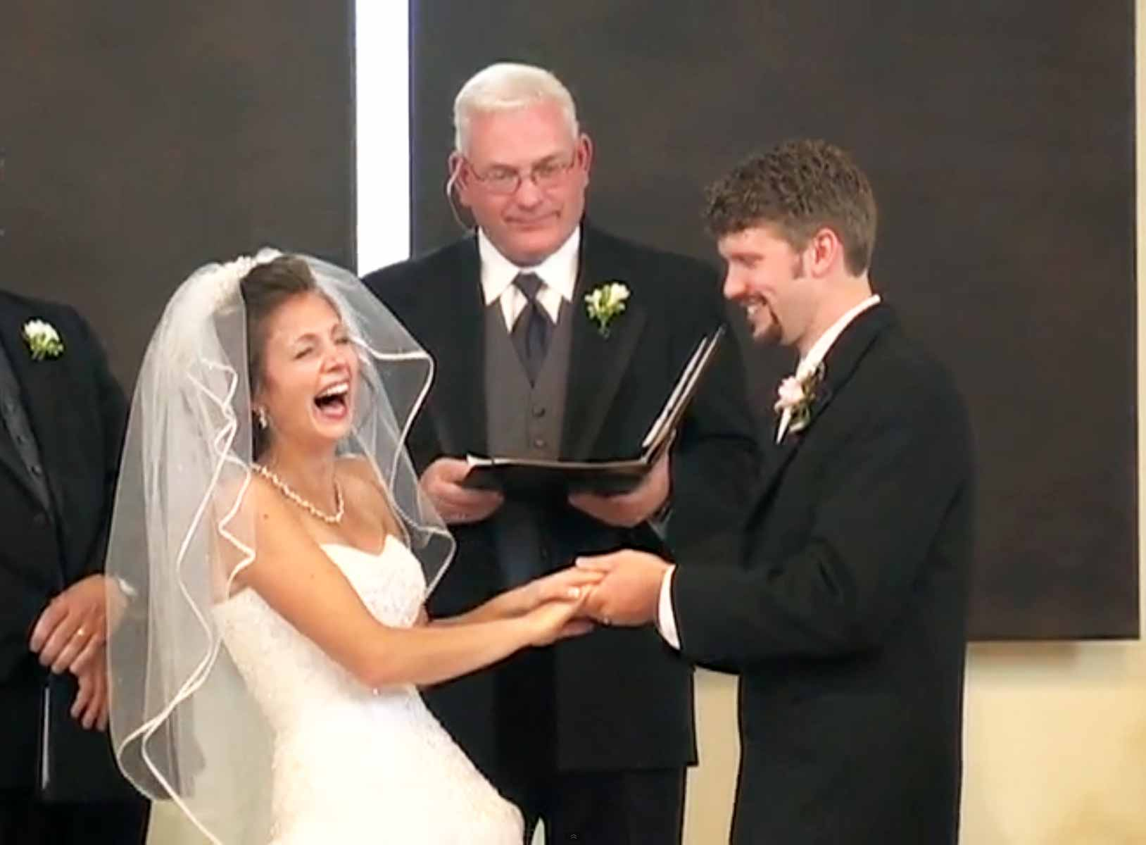 Wife Can't Stop Laughing Because of Her Husband. See what he said in his wedding 1