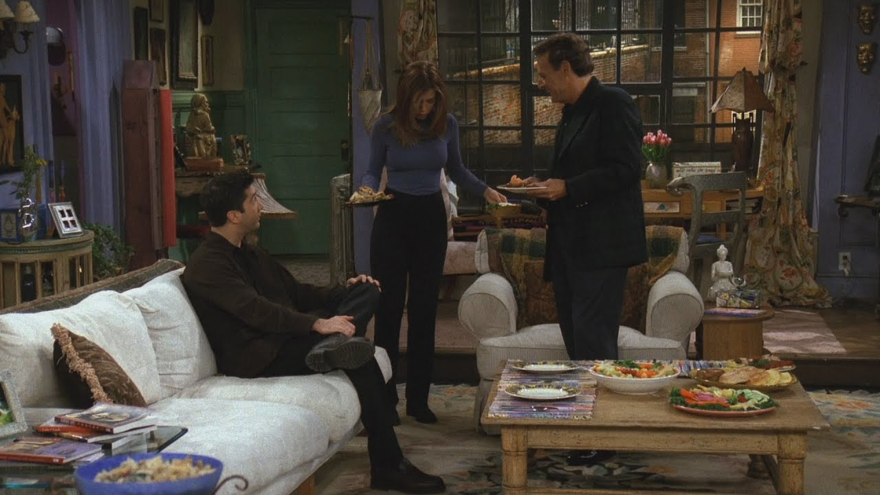 What does Ross do to bond with Rachel's father? 2