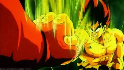 Goku uses the power of Super Saiyan for the first time in the battle with 1