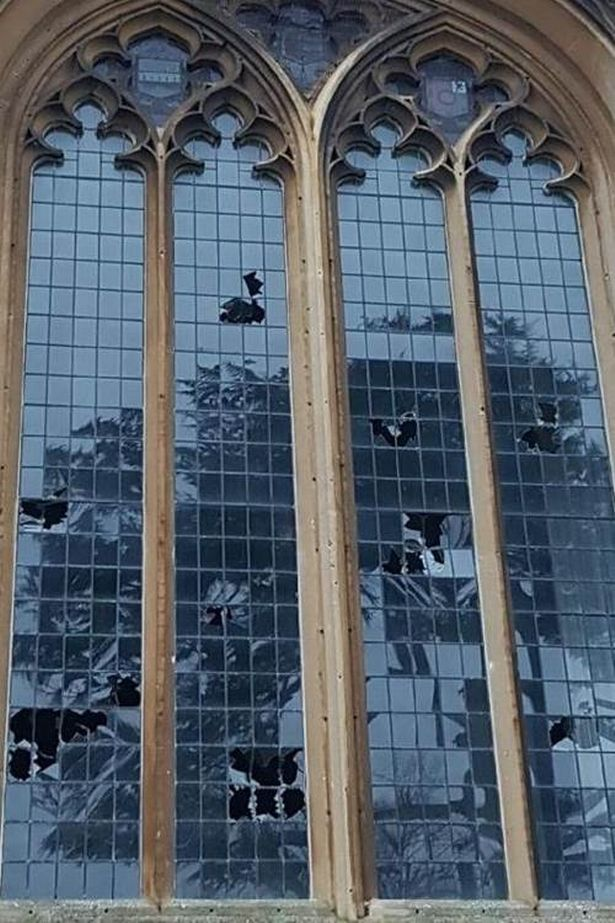 smashed church
