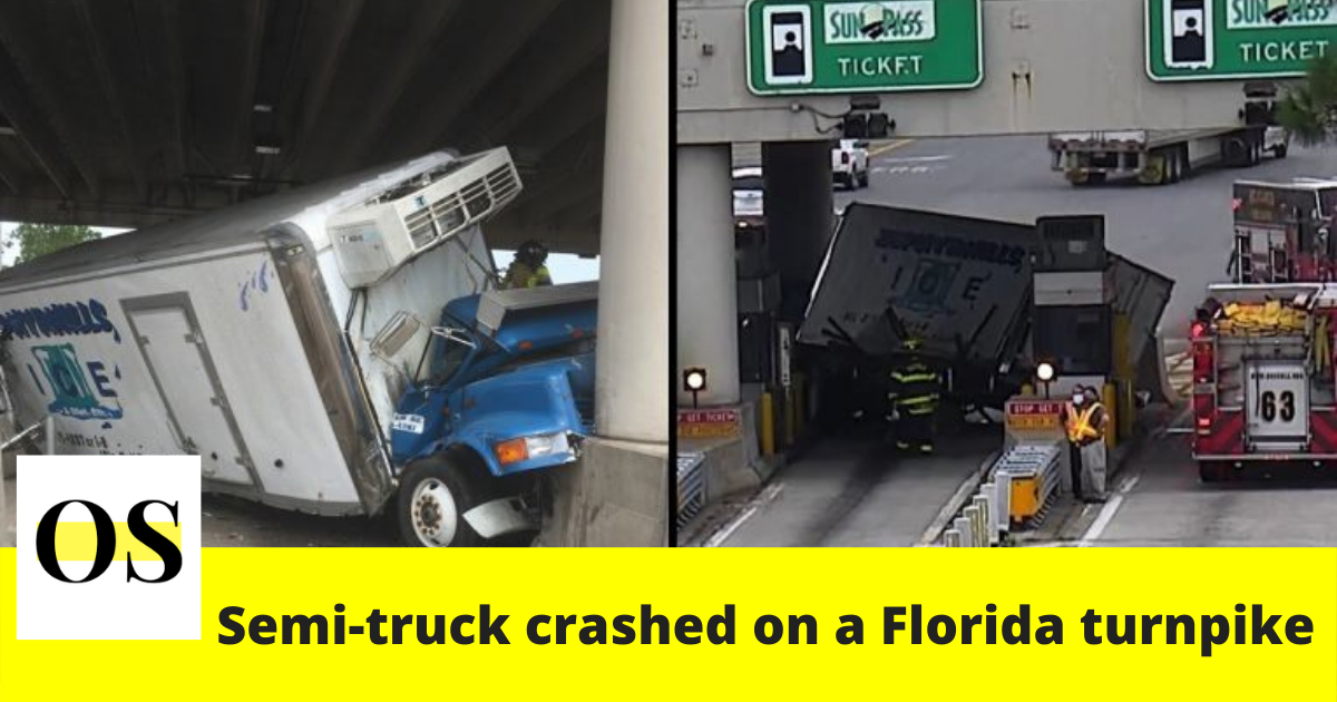 A semi-truck crashed on a Florida turnpike toll booth Monday in Osceola County 2