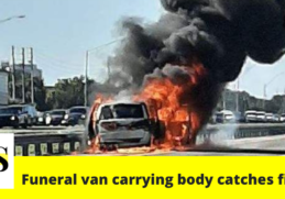 A funeral home van carrying a body on I-4 caught fire on Saturday 7