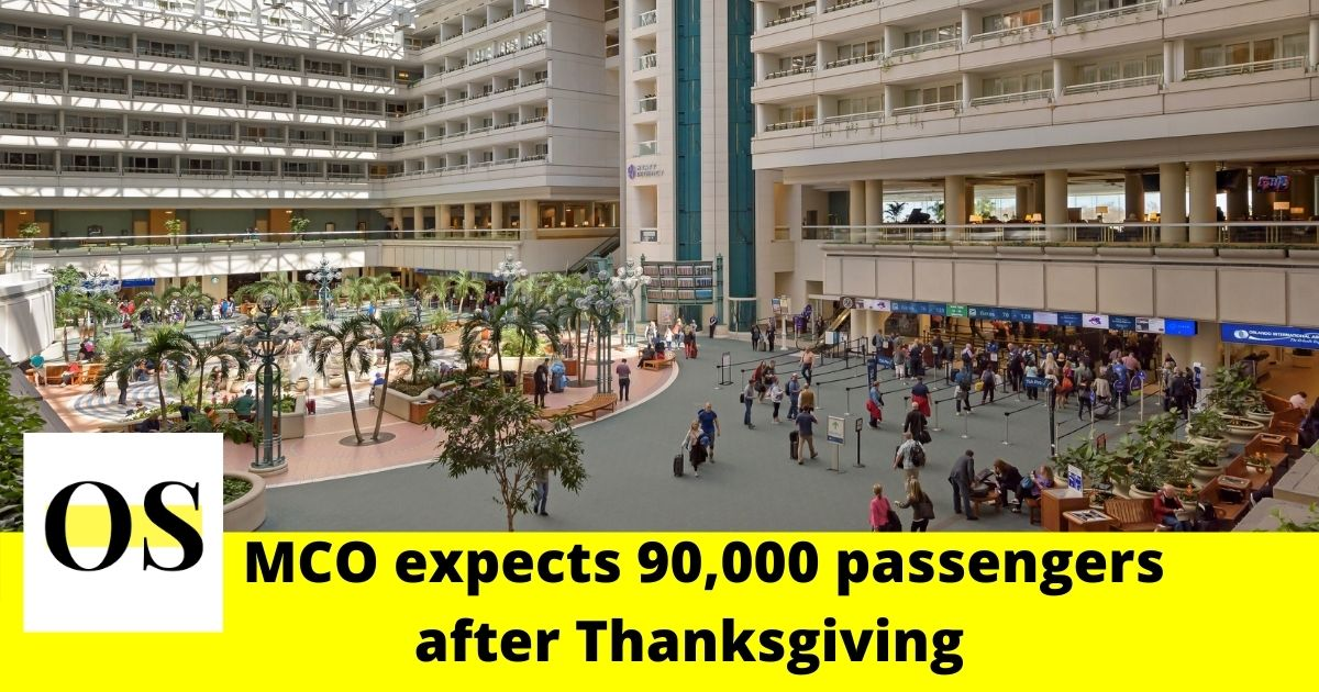 MCO expects 90,000 passengers to pass through on the Sunday after Thanksgiving 1