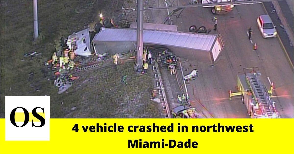 4 vehicle crashed in northwest Miami-Dade 1