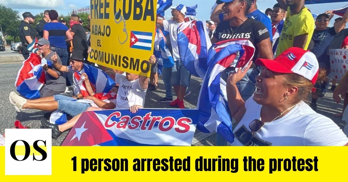 Protestors block Semoran Boulevard to show support for people in Cuba 1