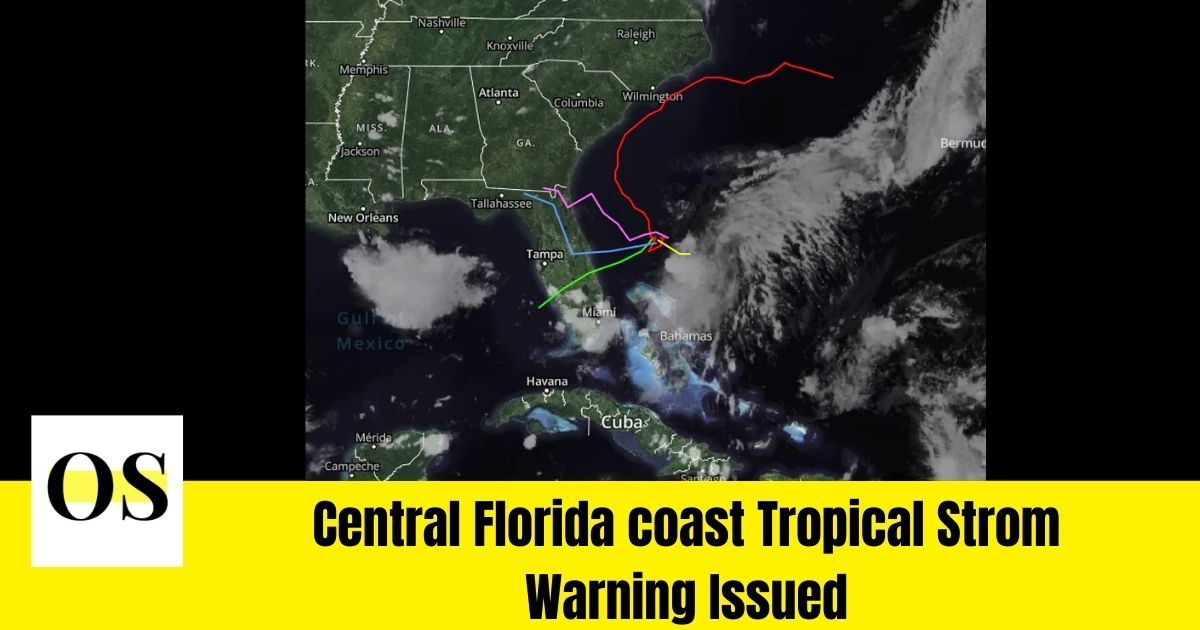 Central Florida coast Tropical Strom Warning Issued